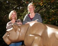 Students at the Nittany Lion Shrine.