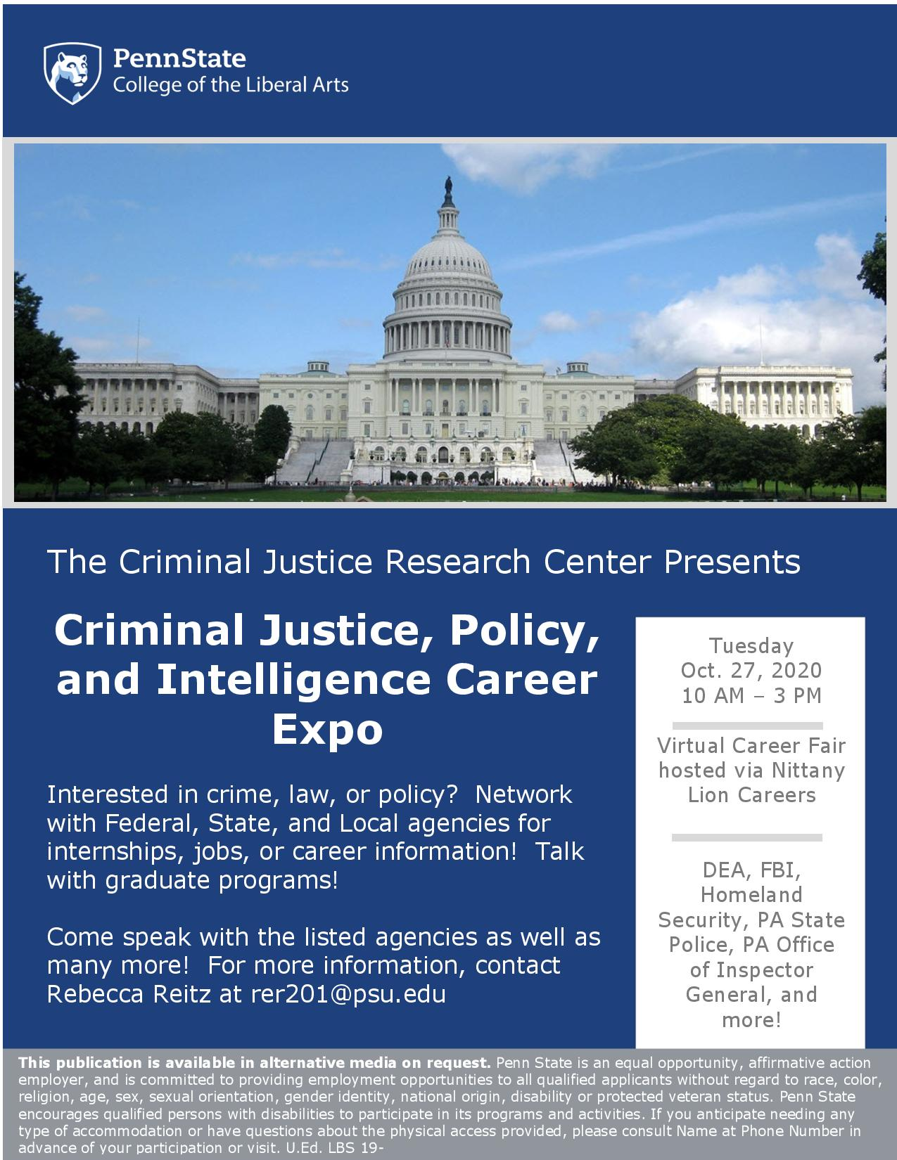 Criminal Justice, Policy, and Intelligence Career Expo