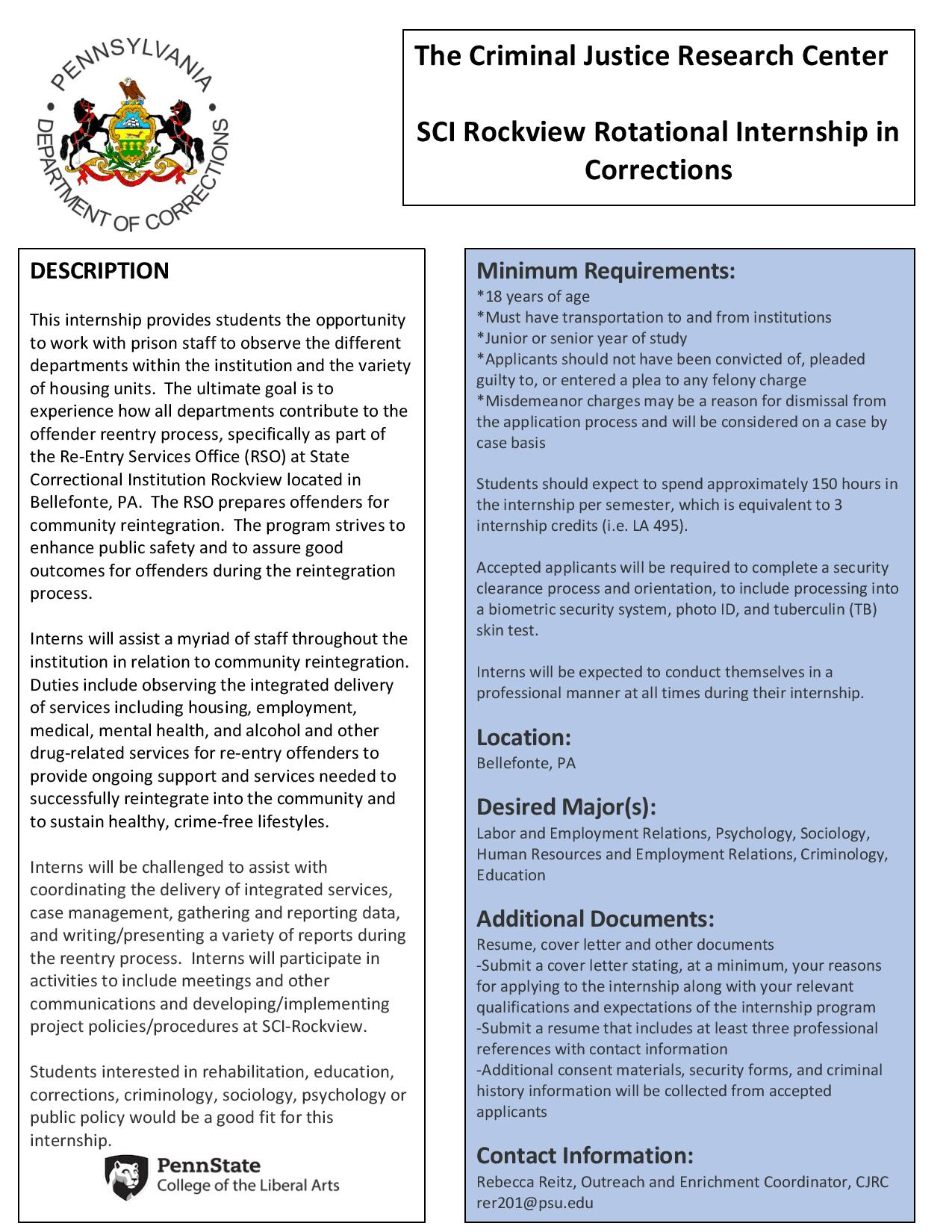 Internship Possibility - Rockview Corrections