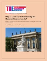 Why is Germany Not Embracing the Humboldtian University?